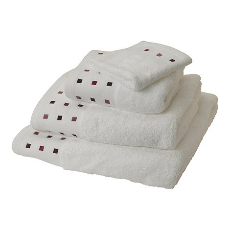 Debenhams - White and purple +Vermont+ cotton towels