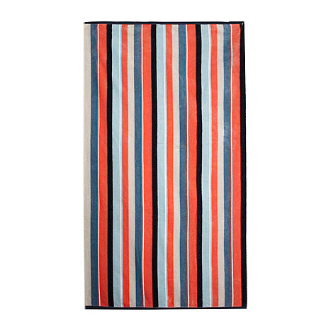 J by Jasper Conran - Navy and coral striped beach towel