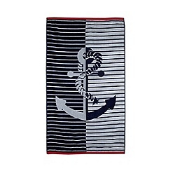 Debenhams - Navy anchor print beach towel