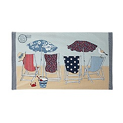 At home with Ashley Thomas - Multi-coloured deck chair print beach towel