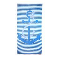 Blue stripe and anchor motif beach towel
