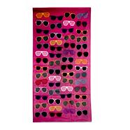 Pink sunglasses printed beach towel