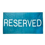 Light blue 'Reserved' motif beach towel