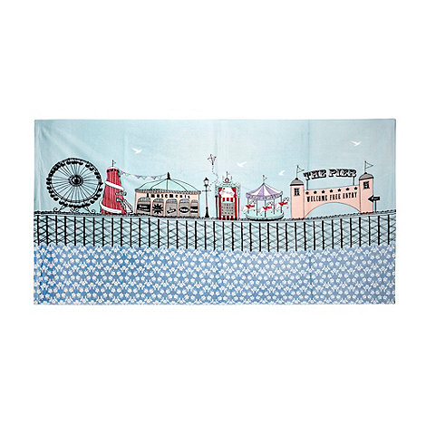 At home with Ashley Thomas - Light blue pier print beach towel