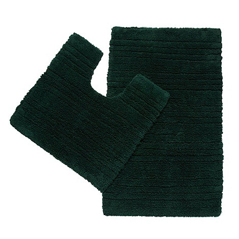 Debenhams - Dark green pedestal and bathmat