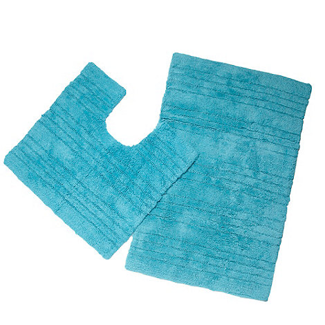 Home Collection Basics - Light turquoise textured striped bath mat and pedestal set