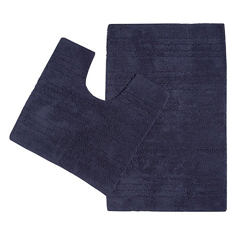 Home Collection Basics - Navy bath mat and pedestal set