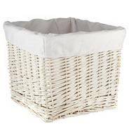 White lined wicker basket