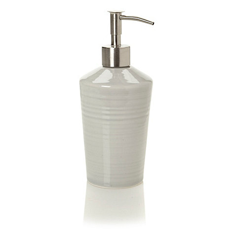 J by Jasper Conran - Designer light grey ceramic hand thrown soap dispenser