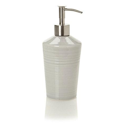 J by Jasper Conran - Designer light grey ceramic hand thrown soap dispenser