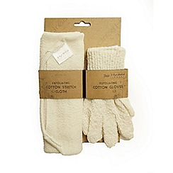 Hydrea London - Exfoliating cotton gloves and cloth set