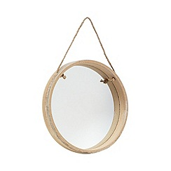 Gisela Graham - Natural wood round mirror