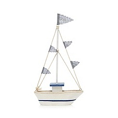 Gisela Graham - Light blue wooden boat ornament