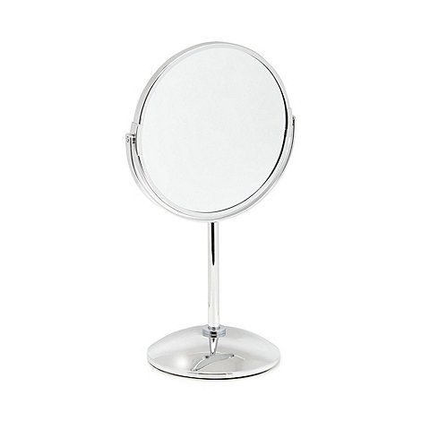 Home collection silver small pedestal mirror debenhams for Small silver mirror