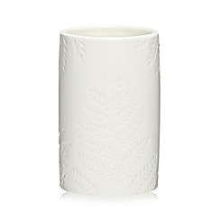 Home Collection - White leaf ceramic toothbrush holder