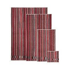 Ben de Lisi Home - Designer red striped velour header towels