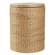 Natural rush cylindrical laundry basket