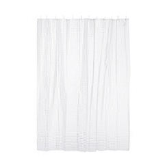 Home Collection Basics - White square pattern shower curtain
