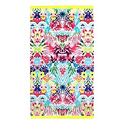 Butterfly Home by Matthew Williamson - Purple floral mirror image print beach towel