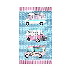 At home with Ashley Thomas - Blue spotted ice cream van beach towel