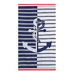 Home Collection Basics - Navy striped anchor beach towel