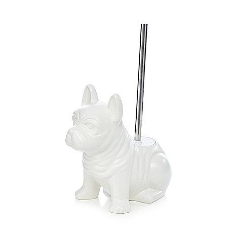 ben de lisi home white dog ceramic toilet brush holder debenhams. Black Bedroom Furniture Sets. Home Design Ideas