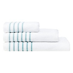 Christy - White and turquoise striped towel