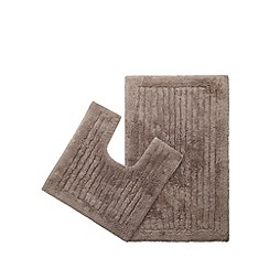 Christy - Natural bath mat and pedestal mat set