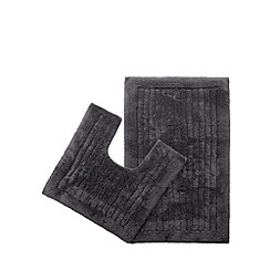 Christy - Dark grey bath mat and pedestal mat set