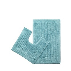 Christy - Aqua bath mat and pedestal mat set