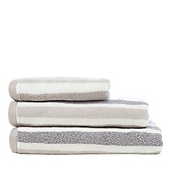 Debenhams - Beige cotton striped print towel