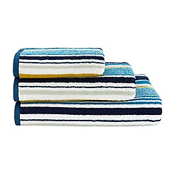 Christy - Bright blue Noho striped cotton towel