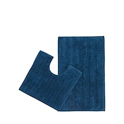 The Fine Linens Company - Bright blue bath mat and pedestal set