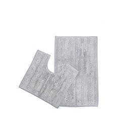 The Fine Linens Company - Silver bath mat and pedestal set