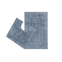 The Fine Linens Company - Blue bath mat and pedestal set