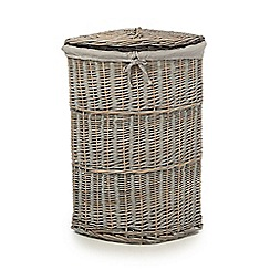 Debenhams - Grey corner wicker laundry basket