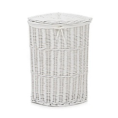 Debenhams - White wicker linen basket