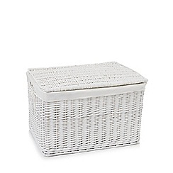 Debenhams - White large wicker trunk