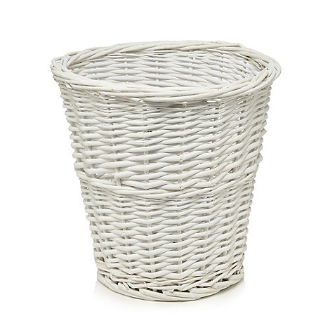 Home collection white wicker waste basket debenhams - Wicker trash basket ...