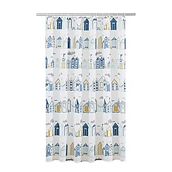 Home Collection - White and blue beach huts print shower curtain