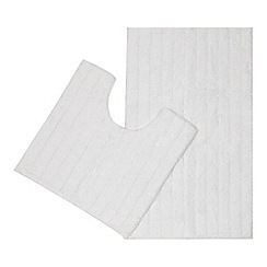 Home Collection - White bath mat and pedestal set