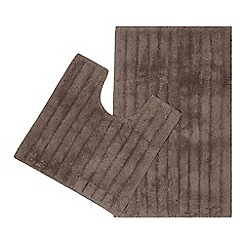 Home Collection - Brown bath mat and pedestal set