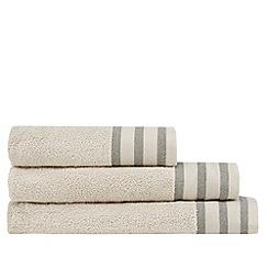 J by Jasper Conran - Taupe striped border towel