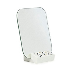 Home Collection - White cosmo speckled mirror and stand