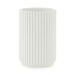 Home Collection - White ribbed toothbrush holder