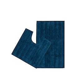 Home Collection - Bright blue pedestal and bath mat set