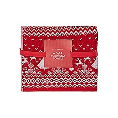 Home Collection - Pack of 2 red and grey Christmas Fair Isle print hand towels
