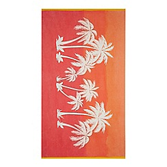 Butterfly Home by Matthew Williamson - Orange and red palm tree print beach towel