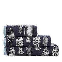 Home Collection - Dark blue fish print towel