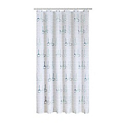 Home Collection - Blue Hastings boat print shower curtain